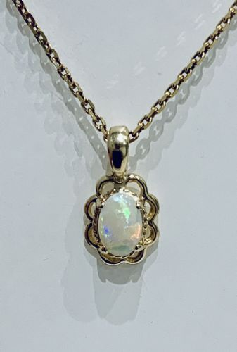 Opal Yellow Gold Oval Fancy Eddged Necklace
